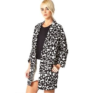 Forever 21 Leopard Print 3/4 Sleeve Trench Coat